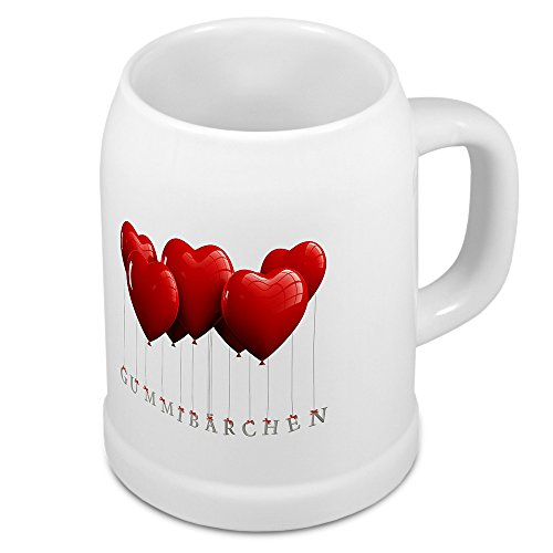 Bierkrug mit Namen Gummibärchen - Motiv Herzballons - Namenstasse, Becher, Maßkrug, Humpen