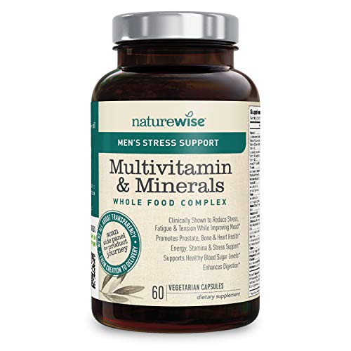 NatureWise Men's Stress Support Whole Food Multivitamin and Mineral Complex for Men's Health with Sensoril Ashwagandha and 22 Essential Nutrients (Packaging May Vary) [1 Month Supply – 60 Capsules]
