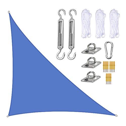 XISENOCI Toldo de Bloque UV Triangular de 4 x 4 x 5,7 m para Patio, Velas de Sombra de jardín en ángulo Recto con Kit de fijación, toldos de sombrilla para Exteriores