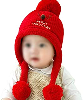 Christmas Merry Wishes Babies Girls Boys Ear Flap Winter Hat, Cute Christmas Deer Design Knit Children Hat Warm Cap with B...