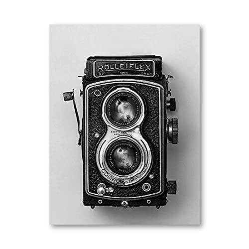 IFUNEW Cuadro de Lienzo Póster de cámara Rolleiflex, impresión de cámara en Blanco y Negro, fotografía Hipster, Arte de Pared, decoración 60x90cm