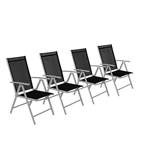 CCLIFE Alu Klappstuhl 2er 4er Set Gartenstuhl Balkonstuhl verstellbar klappbar Belastbarkeit 120 kg Aluminium Outdoor, Farbe:002 Hellgrau, Größe:4er-Set