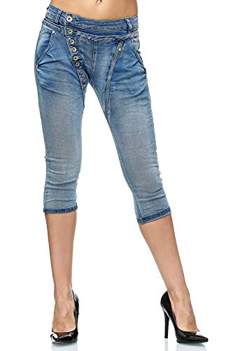 Elara Damen 3/4 Jeans Kurze Capri Slim Fit High Waist Hose Chunkyrayan C936/ Small2K Blue, Gr.- 42/ XL