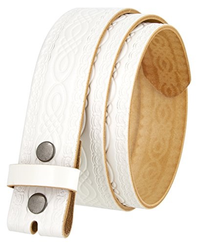 BS085 Full Grain Tooled Leather Belt Strap 1.5' (30, White)