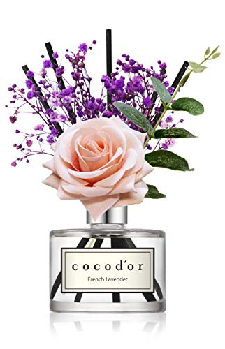 Cocod'or Rose Flower Reed Diffuser, Garden Lavender Reed Diffuser, Reed Diffuser Set, Oil Diffuser & Reed Diffuser Sticks, Home Decor & Office Decor, Fragrance and Gifts, 6.7oz
