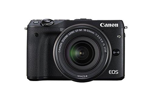 """Canon EOS M3 - Cámara réflex Digital de 24.7 MP (Pantalla táctil 3"""", estabilizador óptico, grabación de vídeo), Color Negro - Kit Cuerpo cámara con Objetivo Canon EF-M 18-55mm f/3.5-5.6 IS STM"""