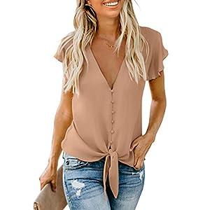 Women's Summer Deep V Neck Flutter Sleeve Button-Down Front Tie Casual Tops Shirts