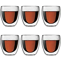 Bodum Pavina -Set de 6 vasos térmicos, 25 cl, cristal borosilicato, transparentes