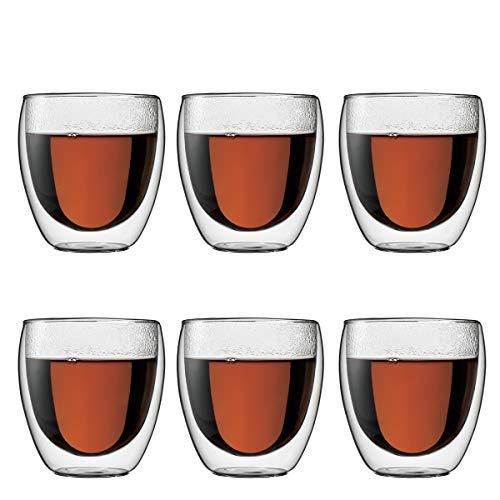 Bodum 4558-10-12 Pavina. Komplet szklanek 6-częściowy (dwuścienny, izolowany, 0,25 litra), przezroczysty