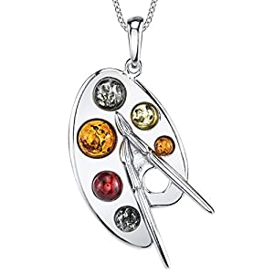 "Sterling Silver Baltic Amber Multi Color Artist Painter's Palette Pendant Necklace Jewelry 18"" Rolo Chain"