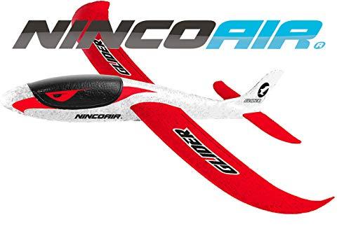 Ninco Ninco-NH92029 NH92029 NincoAir-Glider 2. Gran Avión Planeador. Medidas: 48 cm x 48 cm x 12 cm. A Partir de 3 años, Color Blanco y Rojo