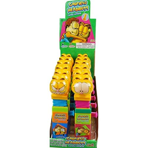 Kidsmania Garfield Headbutt Candy Lollipop Toy - Display Box of 12 Count