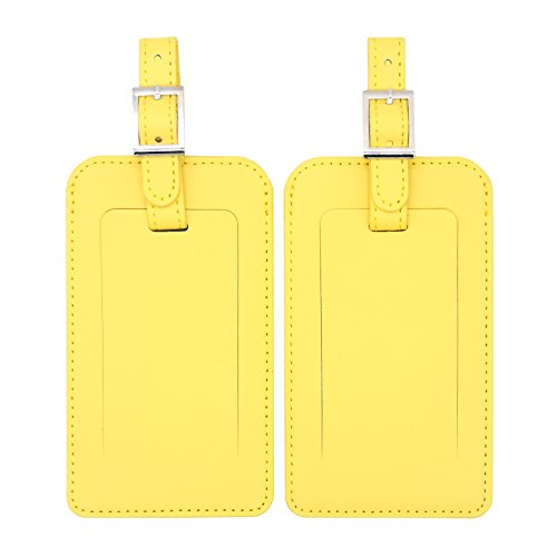 Best M Luggage Tags PU Leather Travel Bag Tag For Baggage with Strap 2 Pieces Set