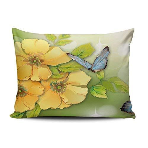 WSMBDXHJ Housse de Coussin rectangulaire pour canapé Motif Fleurs Jaunes et Papillons Bleus 12 x 20 cm