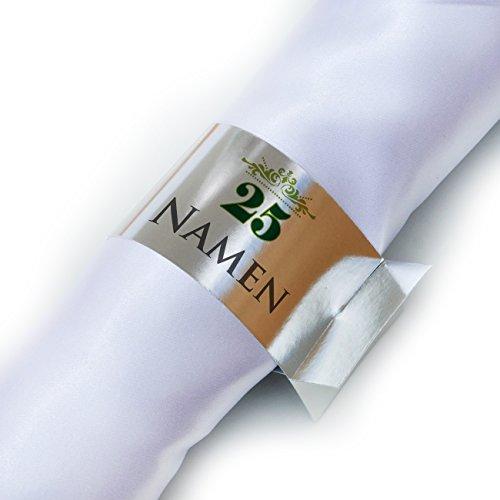 Herz & Heim® Serviettenringe silber 6x bedruckt mit Namen zur silbernen Hochzeit