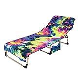 Mingfuxin Toallas para silla de playa, de microfibra, con bolsillos laterales de almacenamiento, toalla de playa, para piscina, tumbona, tomar el sol, vacaciones (azul)