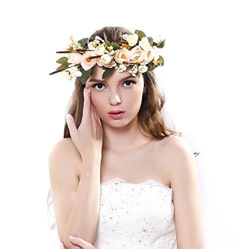 Ever Fairy® fascia per capelli con corona di fiori, nastro regolabile, accessorio per capelli per donne e bambine Champange Taglia unica