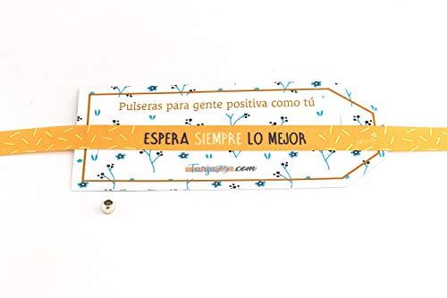 Pulseras de tela con frases molonas: ESPERA SIEMPRE LO MEJOR | Presume y punto | Regalo original