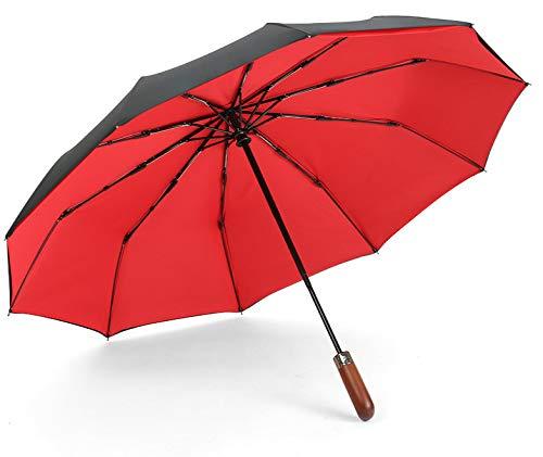 JIUJ Taschenschirm Automatische e Klappschirme Winddichte e mit Zehn-Knochen-Verstärkung Sonnenschirme e aus Impact-Stoff e für Herren Business-Regenschirme Retro-Regenschirme 23 Zoll Doppelt rot