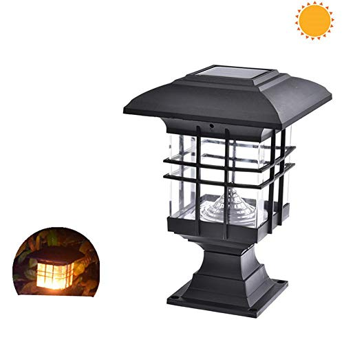 Solar LED Night Light, Waterdichte Landscape Garden Solar Light LED Outdoor Postkolom Hek Landschap Lamp Night Beveiliging Decor Solar Lamp,Warm light