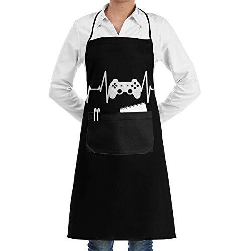 Video Game Controller Heartbeat Kitchen Apron,Pocket Apron,Barbecue Apron,Waitress Waist Apron,Barista Apron,Personalized Grill Apron