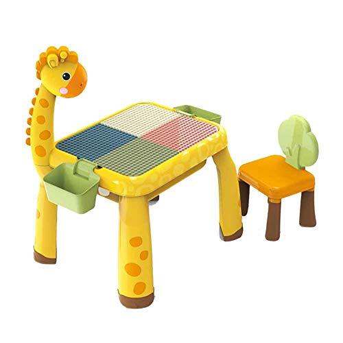 LWLEI Kinder Tisch Und Stuhl Set (einschließlich 136 Bausteine) Mehrzweck-Kinderaktivität Bauen Und Spielen for Kleinkinder Und Tischlampe dauerhaft