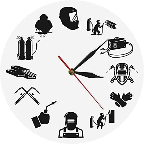 Reloj de pared Cocina Soldadura Vida Soldador Cuarzo contemporáneo Reloj de pared personalizado Soldadura de argón Reloj de pared silencioso impreso Trabajadores de soldadura eléctrica Regalos Habitac