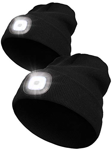 2 Pieces LED Unisex Hat Beanie Cap with 3 White Light Modes, Light Up Hat Hand-free Flashlight USB Rechargeable Unisex Winter Knit Cap Warmer Hat (Black)