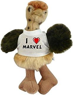 Shopzeus Avestruz personalizado de peluche (juguete) con Amo Marvel en la camiseta (nombre de pila/apellido/apodo)