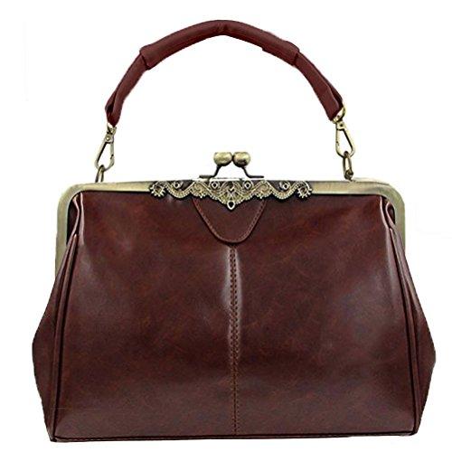 Donalworld Women Retro Hollow out Leather Shoulder Handbag Coffee