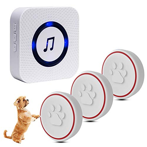 ChunHee Dog Doorbell for Potty Training Wireless Training Door Bells for Dog Cat Puppy, 3 Waterproof Touch Buttons, Dog Doorbells for More Puppies(1 Receiver & 3 Transmitter)
