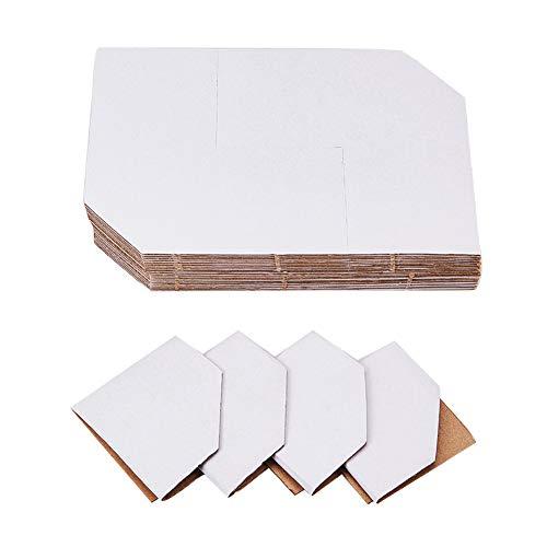 PandaHall Elite 50pcs Blanc Papier Kraft de sécurité Album de Protection d'angle Album de Table Protecteur d'angle, 13x13cm