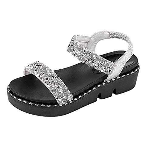 Sandalen für Damen, Plateau, bequem, flach, Strass, glitzernd, Sommer, stilvolle Pailletten, Kleid Schuh für Party, silberfarben, 38.5 EU