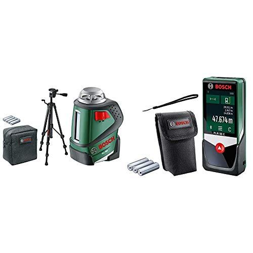 Bosch Linienlaser PLL 360 Set mit Stativ (Arbeitsbereich: 20 m, Genauigkeit: ± 0,4 mm/m, in Schutztasche) & Digitaler Laser Entfernungsmesser PLR 50 C (mit App Funktion, 50 Meter Messweite)