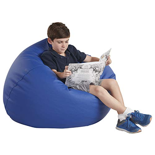 FDP SoftScape Classic 35' Junior Bean Bag Chair, Furniture for Kids, Perfect for Reading, Playing Video Games or Relaxing, Alternative Seating for Classrooms, Daycares, Libraries or Home - Blue