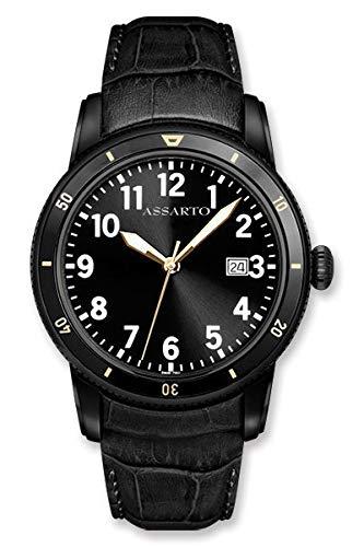 ASSARTO Watches ASH-8830BK/S-BLK Oceantime-Series Taucheruhr mit Schweizer Uhrwerk, Saphirglas und Lederarmband, Schwarze Herrenuhr, Uhr, Edelstahluhr, Armbanduhr, Quarzuhr, Sportuhr, Luxusuhr
