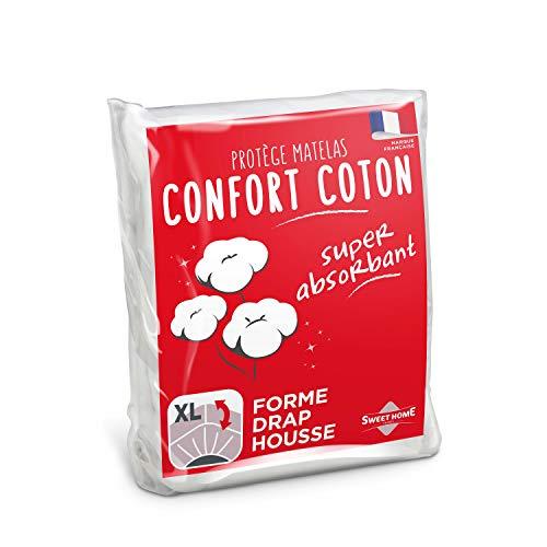 SWEET HOME | Protège Matelas Confort - 140x190/200 cm - Molleton 80% Coton - Ultra Absorbant - Forme Drap Housse - Lavable en Machine
