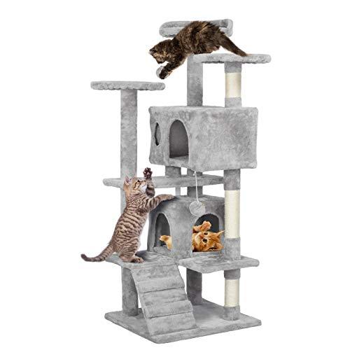 Yaheetech Kratzbaum Stabiler Katzenbaum Katzenkratzbaum Katzenmöbel, Kletterbaum für Katzen 130 cm Hoch Hellgrau