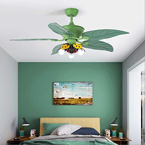 Luces de ventilador de techo Ventilador de techo de dibujos animados, de 48 pulgadas de luz de techo del ventilador con el Kit de iluminación integrado y control remoto, Cinco reversible Blades, verde