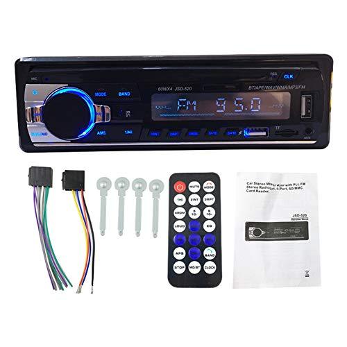 Nrpfell Radio de Coche Reproductor EstéReo Digital Reproductor de MP3 para Coche 60Wx4 Radio FM Audio EstéReo MúSica-USB/con Entrada AUX en el Tablero