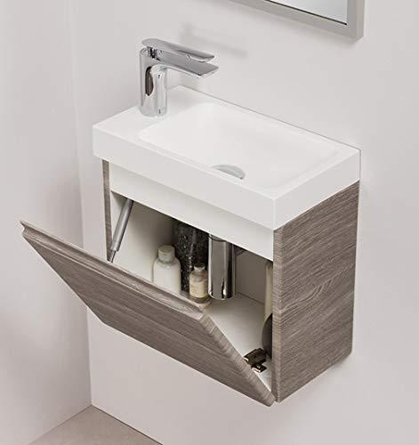 Quentis Badmöbel Gäste-WC Set Faros, Breite 40 cm, Waschbecken mit Unterschrank, Perlgrau
