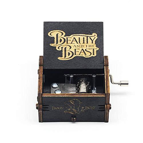 MINGZE Manovella in Legno Music Box meccanismo, varietà di Stili Carillon Creativo Personalizable, Best Gift for Kids Friends (Beauty And The Beast(Black))