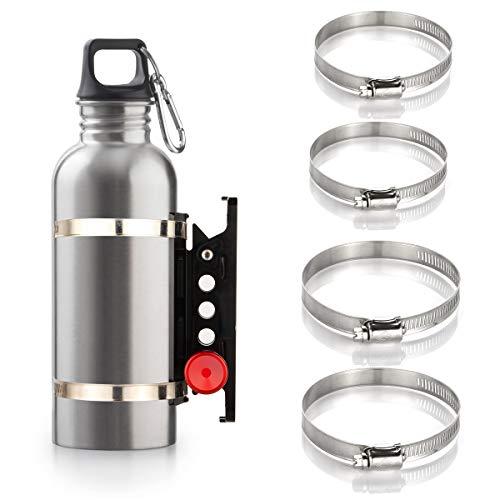 Adjustable Aluminum Roll Bar Bottle/Fire Extinguisher Mount Holder with 4 Clamps Vehicle Fire Extinguisher Bracket for Wrangler TJ JK JL JKU UTV Polaris RZR Ranger (Black Roll Bar Holder)