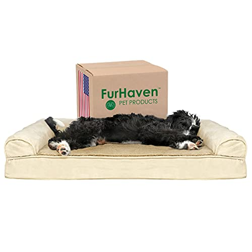 Furhaven Pet Beds for Small, Medium, Large, and Jumbo Dogs and Cats - Plush Sofa Orthopedic Dog Bed, Outdoor Travel Dog Bed with Stuff Sack, and More - Multiple Colors, Styles, and Filling