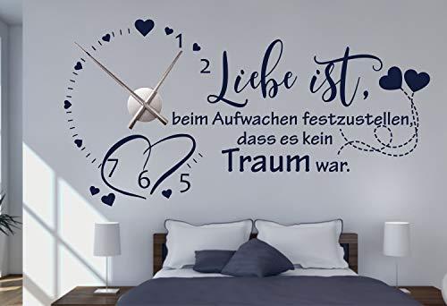 timalo® Wandtattoo mit Uhrwerk Wanduhr fürs Schlafzimmer DIY Uhr zum Aufkleben – Liebe ist beim Aufwachen festzustellen. | 76059-Weiss-M-90x45-Uhr-schwarz