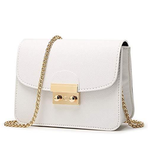 CHIKENCALL Damentasche Kleine Damen Umhängetasche Citytasche Schultertasche Handtasche Elegant Retro Vintage Tasche Kette Band (White)