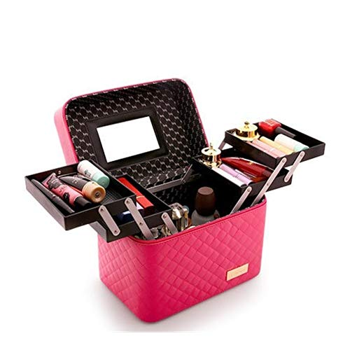Women's High-capacity Professional Makeup Organizer Cosmetic Bag Wash Fashion Multi-layer Storage Box Portable Suitcase (Color : 0102004 rose red, Ships From : CHINA)