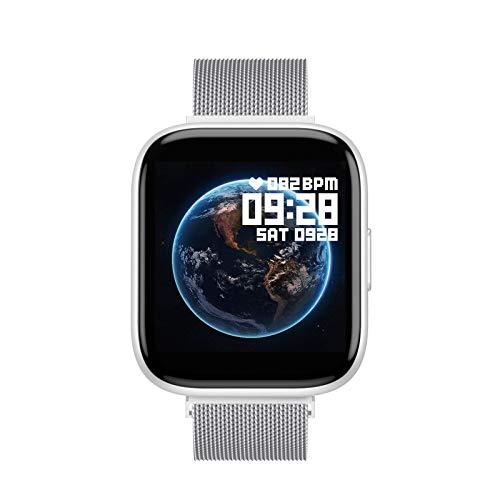 Aliwisdom Smartwatch für Herren Damen, 1,55 Zoll Screen Bluetooth Telefonie Sportuhr Wasserdicht Fitness Tracker für iOS Android, Mit Bluetooth-Anruf & Intelligente Erinnerungsfunktion (Silber)