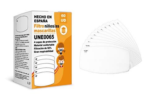 KALLPA® Pack de 60 filtros para mascarillas UNE0065 -  REUTILIZABLES -  fabricados en España -  hidrófobo,  antiestático y antibacteriano,  muy transpirable (TNT) (Pack infantil 60)