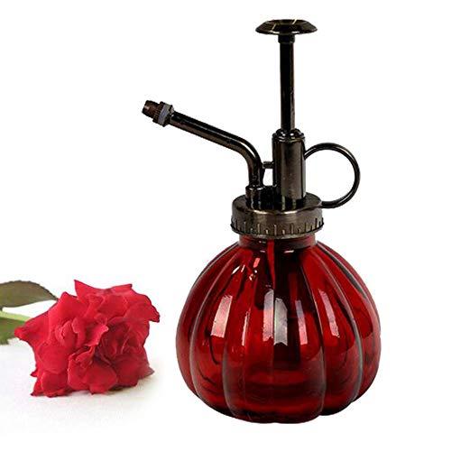 Bemodst 1 PC Glass Watering Can Pot Vintage Plant Mister Brass Pressure Sprayer Retro Pumpkin Spray Bottle Antique Copper Sprinkler Gardening Tools with Top Pump for Bonsai Flowers (Red)